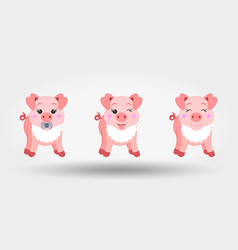 cute baby pigs in bib icon vector image
