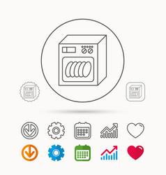 Dishwasher icon kitchen appliance sign vector