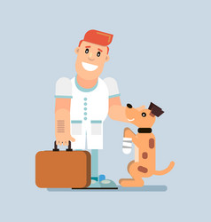 doctor treats a dog vector image