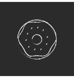 Doughnut icon drawn in chalk vector image
