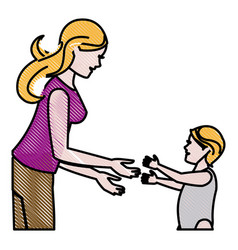 Drawing mother and her son child together vector