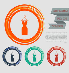 Dress icon on the red blue green orange buttons vector