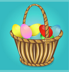 Easter basket with eggs happy easter vector