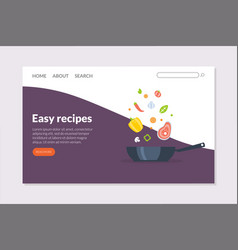 easy recipes landing page template online cooking vector image