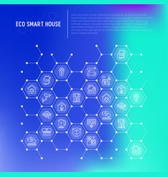 eco smart house concept in honeycombs vector image