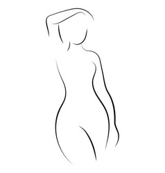 female figure outline of young girl stylized vector image