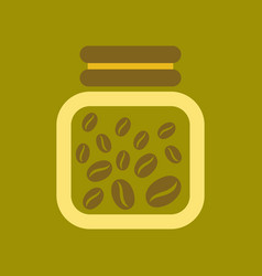 Flat icon on background coffee jar of beans vector
