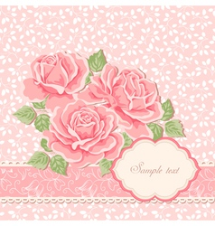 Floral background with roses greeting card templa vector
