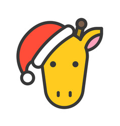 Giraffe wearing santa hat outline icon editable vector