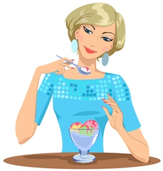 girl eats ice cream vector image