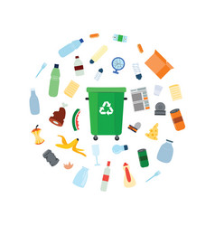 Green trash bin with recycle symbol surrounded by vector