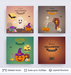 halloween party posters set vector image