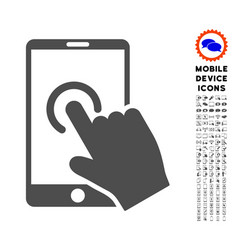 hand touch smartphone icon with set vector image