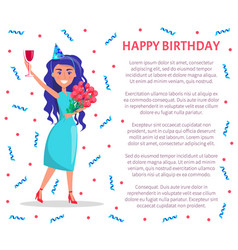 happy birthday poster woman with glass of wine vector image