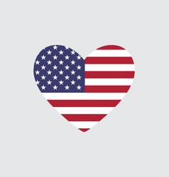 Heart usa flag colors vector