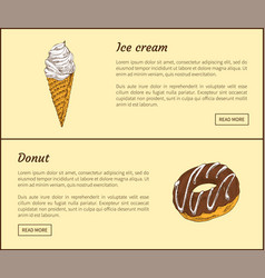 ice cream and chocolate donut vector image