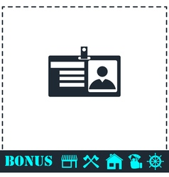 Identification card icon flat vector