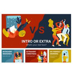 Introvert extravert horizontal banners vector