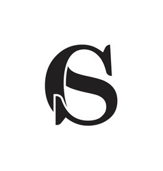 Letter cs simple linked font logo vector