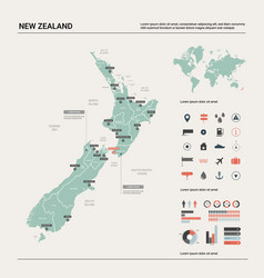 Map new zealand country map with division vector