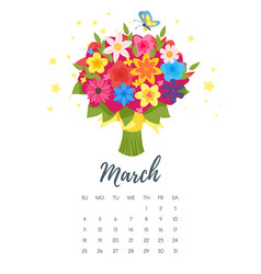 March 2018 year calendar page vector