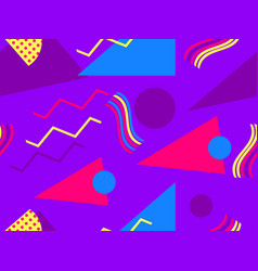 Memphis seamless pattern with geometric shapes in vector