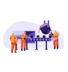 Metallurgy industry workers uniform smelting metal vector