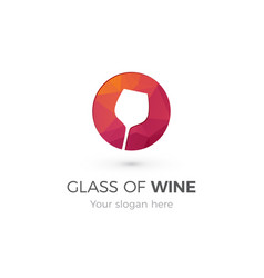 modern red glass wine icon in circle vector image