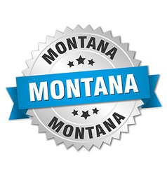 Montana round silver badge with blue ribbon vector