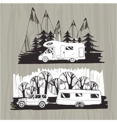 Motor homes vans caravans mobile homes trailer vector