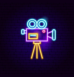 Movie camera neon sign vector