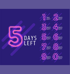 Number days left banner for marketing vector