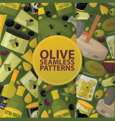 olive seamless pattern oliveoil bottle with vector image