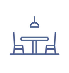 outlined empty dining table chair and lamp icon vector image