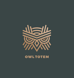 Owl totem abstract sign emblem or logo vector