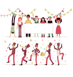 Parade people with musical instruments marching vector