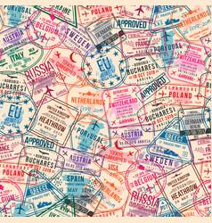 Passport visa stamps seamless pattern vector
