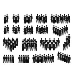 people crowd icons group persons gathering vector image
