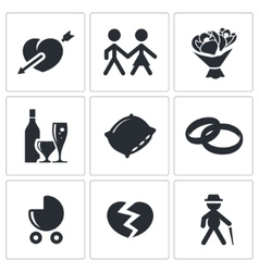 Peoples lives icons set vector