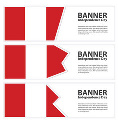 Peru flag banners collection independence day vector