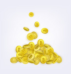 Pile of bitcoins made by falling golden btc coins vector