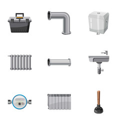 Plumbing repair icons set cartoon style vector