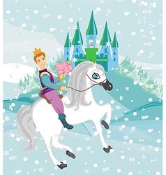 Prince riding a horse to the princess on a winter vector
