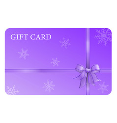 Purple gift card with ribbon and bow vector