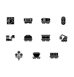 railway freight black glyph style icons vector image