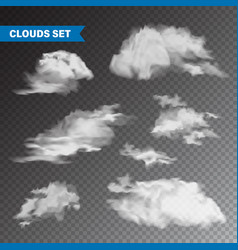 Realistic clouds set isolated cloud on vector