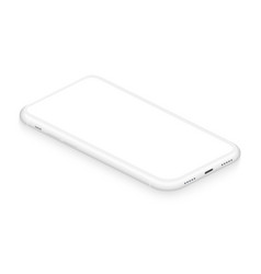 realistic isometric white frameless smartphone vector image