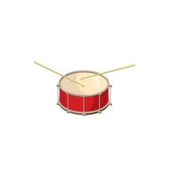 Red drum and drumsticks icon cartoon style vector image