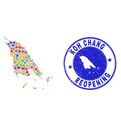 Reopening koh chang map collage and grunge seal vector