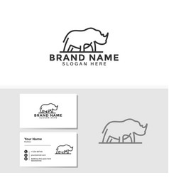 rhino logo template with business card design vector image